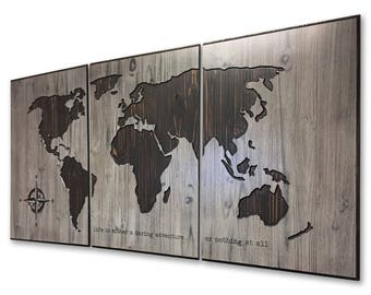 Wall Decor for Home, World Map, Customized, Wooden Map, Push Pin Map, Wood Wall Art, Picture, Rustic, Personalized, Custom Map, Shabby Chic