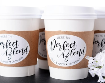 Wedding Coffee Cups - Wedding Coffee Bar - Hot Chocolate - Drink Cups - Custom Wedding Coffee Labels - Perfect Blend Coffee Cups - wdiCF-269