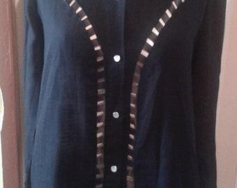 shirt vintage black perforated cut transparent western 40 hole