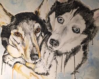 Custom Watercolor Pet Portraits by Sweet Cheekz 11 x 14
