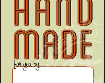 2 Inch Sq. Tags for Handmade Crafts or Gifts with Retro Style Ready for Your Signature
