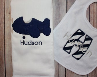 Baby boy airplane etsy personalized boys burp cloth bib set baby boy airplane burp airplane baby gift negle Gallery