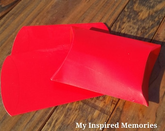 6-Red party favor boxes, red favor boxes, red favor pillow boxes
