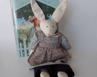 Folk Art Rabbit Doll, Cute Vintage Country Girl Bunny, Gift for Girl Bedroom Decor