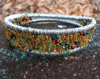 Wire Wrapped Jewelry, Wire Wrapped Bracelet, Wire Wrapped Beaded Bracelet, Beaded Bracelet