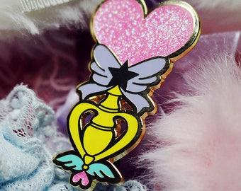 Candy Pop Heldin Zepter Pin | Shojo vergoldet Kawaii harte Emaille Pin