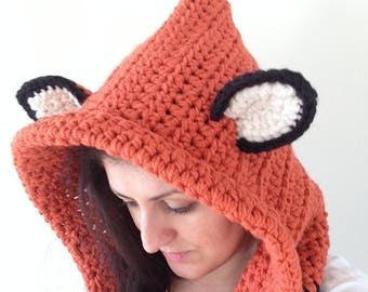 Hooded Scarf. Crochet Fox Hood. Hooded Cowl. Fox Hood. Fox Hooded Cowl. Fox Cowl with Hood. Fox Cowl Hood. Kids Cowl Hood.