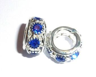European beads 10x6mm metal Royal blue zircon Crystal silver Y012