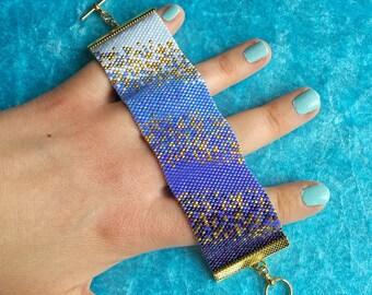 "Beaded Bracelet Pattern ""Ocean Haze"" - Flat Even Count Peyote Stitch Using 11/0 Miyuki Delicas"