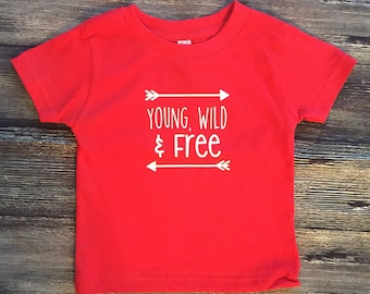 Young, Wild & Free toddler shirt, 24 months, rustic kid shirt red, young and wild and free shirt, 24 month old red shirt, 2 year old shirts