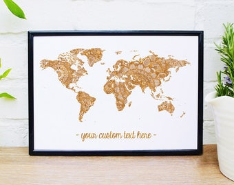 Mandala World Map Custom Print Personalised Quote Wall Art Gold Bronze Metallic Copper Travel Gift Wanderlust Custom Coordinates A1 A2 A3 A4