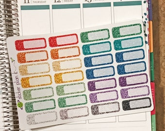 Glitter Appointment Stickers, Rounded Quarter-Box, Set of 28, for use in Vertical Erin Condren Life Planners!