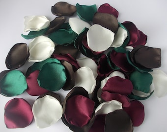 Burgundy Hunter Green Brown Ivory Satin Rose Petals, Silk Wedding Flower Petals, Wedding Petals, Artificial Petals, Fabric Petals
