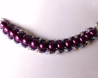 Purple glass pearl and crystal Russian spiral bracelet