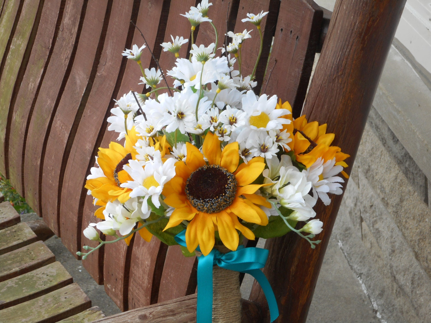 Sunflower and daisy silk bridal bouquet country wedding zoom izmirmasajfo Images