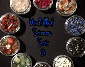10 Jars Of Undrilled Semi Precious Stone Chips SET 3