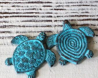 Mykonos Sea Turtle Pendant -  Mykonos Green Patina Beads - Jewelry Making Supplies - Mykonos Turtle - 30mm - Choose Amount