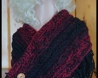 Maroon and Black Fringed Crocheted Cowl