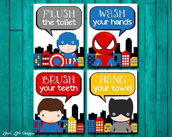 Superhero Bathroom Wall Art Decor