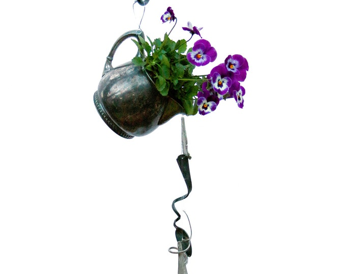 Teapot Planter, Hanging Flower Pot, Repurposed Recycled, Vintage Silver Teapot Kettle, Mothers Day, Organic Gardens, Percolator, Tea Kettle