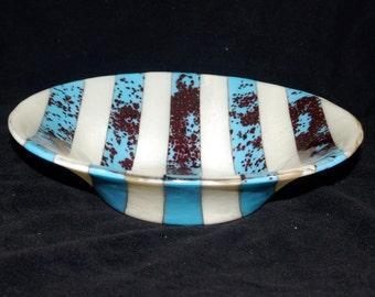 Gegossenes Glas gestreift Türkis Bowl