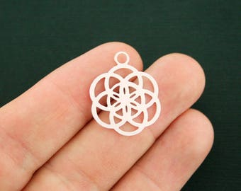 2 Flower of Life Charms Silver Tone 2 Sided - SC6666