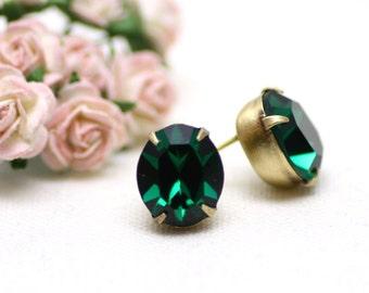 Vintage Emerald Green Estate Swarovski Crystal Post Earrings in Brushed Brass Settings   Stunning Wedding, Bridal Jewelry by Azki