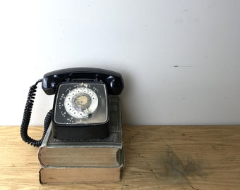 1980s Industrial Black Rotary Telephone / GTE Automatic Electric