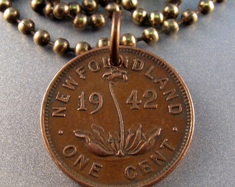 Vintage NEWFOUNDLAND coin necklace . orchid pendant. Ladyslipper. Canada Coin Charm. Botanist gift NO.00986
