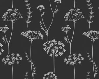 Fabric REMNANT 2 yards Black White Upholstery Fabric, Floral Drapery Fabric, Waverly Simplicity, Queen Anne's Lace, Home Dec Fabric DESTASH