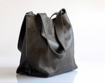 Black Leather Bag, Soft Leather Tote Bag, EveryDay Bag, Women Leather Bag, Leather Tote, Handmade Leather Handbag with ZIPPER, SHIRI Bag