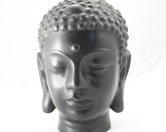 "Buddhist Statue - Bronze Buddha Head Bust, 9"" tall, 5.5 pounds"