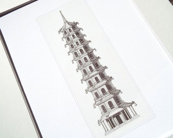 Sepia Tall Pagoda Style 2 Antique Illustration Archival Print