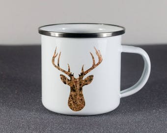 Vintage Style Camp Cup, Stainless Steel with Camo Deer and Tracks