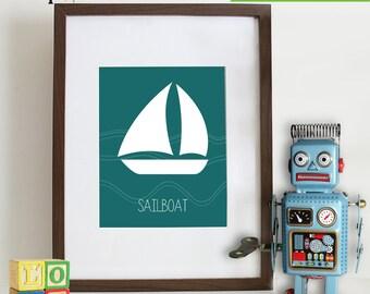 Transportation Prints, Boat Print, Sailboat Print, Nautical print,  Item 009