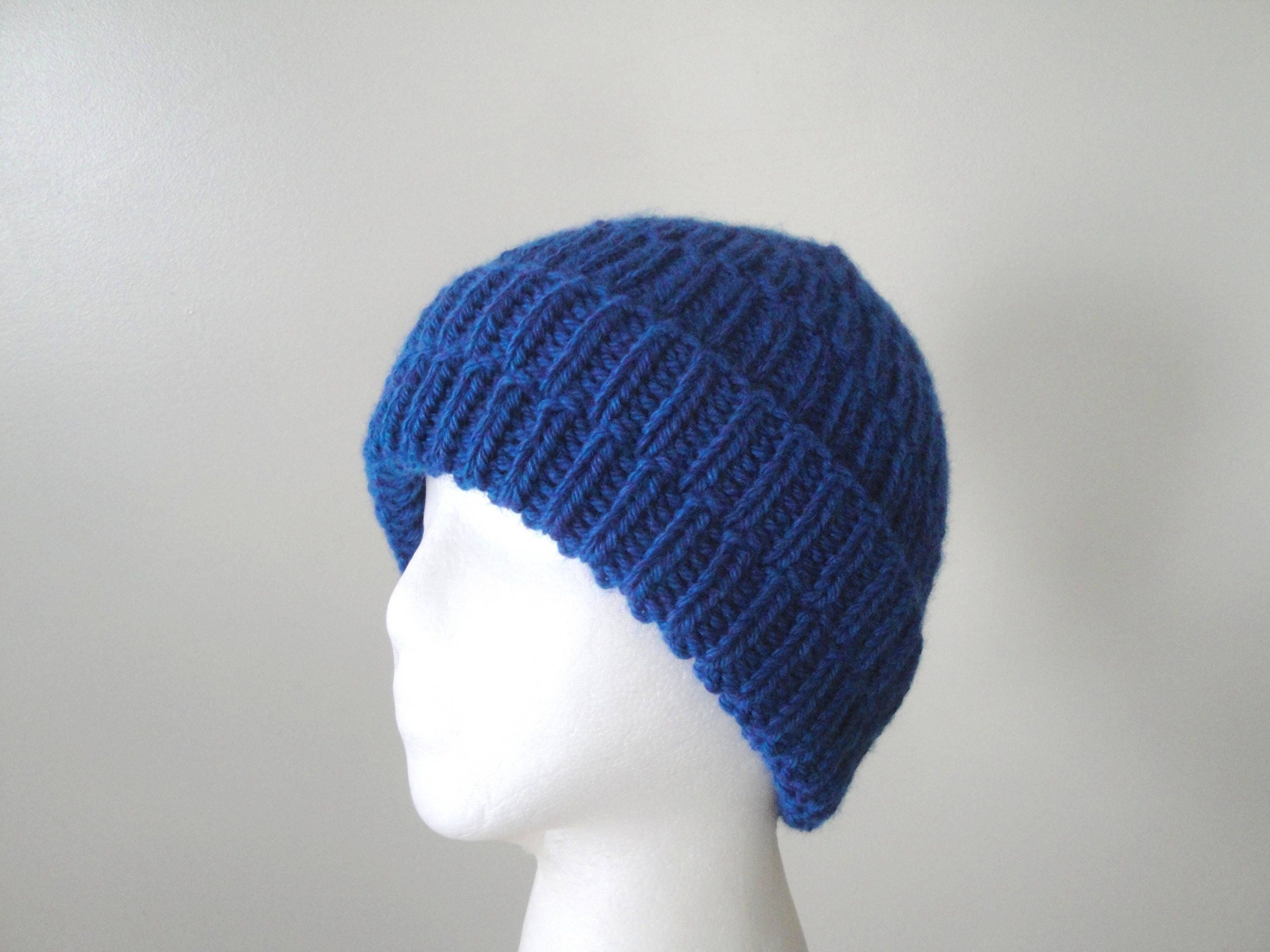 Chunky Ribbed Hat Knitting Pattern Easy Knit Beanie Hat Cap ...