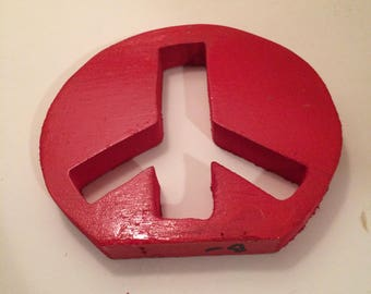 Peace Finds a Way: Scrap Pine Scroll Saw Cut Peace Sign Painted Red