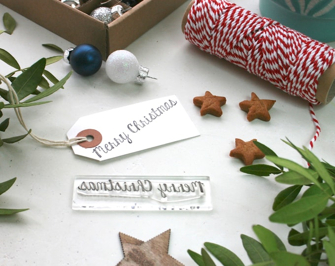 Christmas Stamp - Merry Christmas Stamp - Christmas Card Making Supplies - Greetings Stamp - Merry Stamp - Clear Stamp - Little Stamp Store