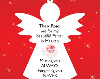 AG7. Hanging Angel Memorial Plaque.  Missing you always forgetting you never.  White acrylic.  132mm x 108mm. White Ribbon.