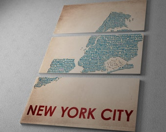 New York City Map Gallery Wrapped Canvas Triptych Print