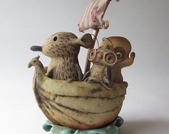 Rat, Roach, and Chihuahua Go Sailing ~ whimsical, mixed-media, storybook sculpture