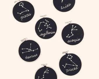 Zodiac Constellation Embroidery Hanging