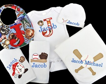 Personalized Baseball Theme Baby Gift Set / Bodysuit, Cap, Blanket, 2 Burpcloths and Bib