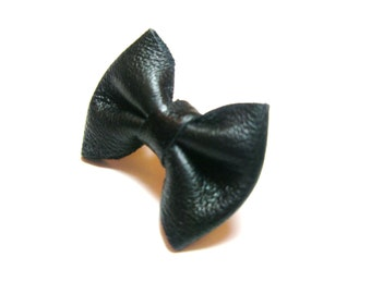 Bow ring- Black Leather  jewelry-  Adjustable-  free shipping