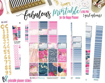Fabulous Birthday | Weekly Printable Planner Kit | Planner Stickers | Cut Lines | for use with Happy Planner | Planner Stickers Printables