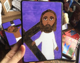 4 X 6 inch-ish Jesus Accepts his Cross Byzantine Folk style icon on wood by DL Sayles