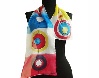 Hand painted silk scarf with circles. Yellow, red, blue scarf. Painted long scarf. Circles scarf. Modern scarf. Designer scarf. Art scarf.