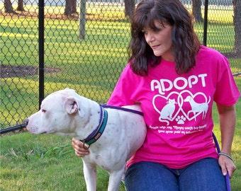Dog tshirt, cat shirt, ADOPT tshirt, animal rescue, girlfriend gift, American Apparel, pit bull, pet, pitbull, message tee, mom gift, rctees