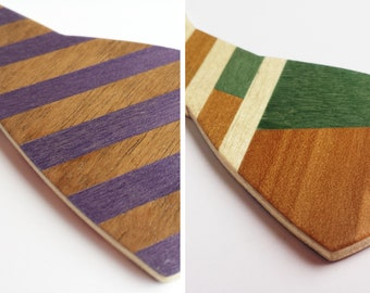 Purple Richi, reversible wooden bowtie