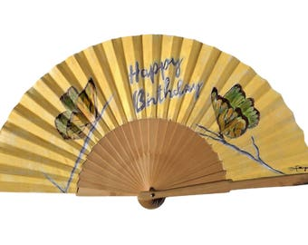 Handpainting fan Happy birthday, Butterflyes happybirhday Handfan, Handpainting fan exclusive for you, Painting present Handfan,
